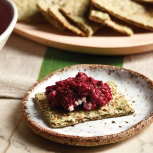 Beetroot Dip with Seed Crackers
