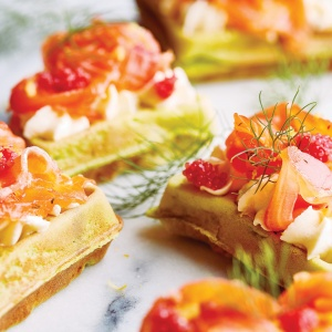 Salmon Gravlax with Pesto Waffles  & Lemon Chantilly